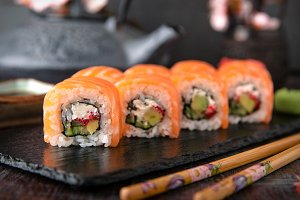 Philadelphia roll sushi with salmon