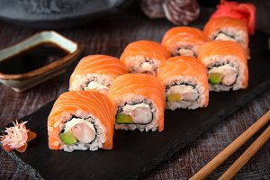 Philadelphia roll sushi with prawn