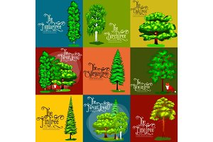 Wild forest green trees, plants and animals. Cartoon vector set  in outdoor park.   in the  with branch  leafs. Pine tree oak spruce birch poplar rowan maple fin