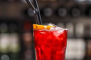 Red berry fruit soda drink