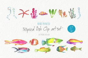 Tropical fish watercolor collection