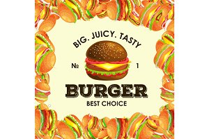 Frame from tasty burger grilled beef and fresh vegetables dressed with sauce bun for snack, american hamburger fast food meal menu barbecue meat vecor illustration background