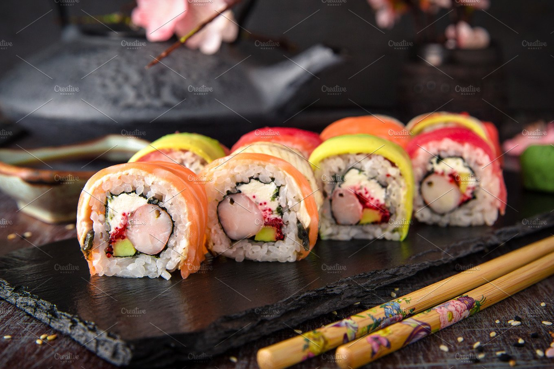 Rainbow Sushi Roll With Salmon Food Drink Photos Creative Market