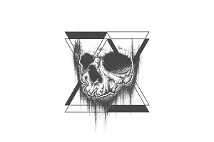 Abstract dot work grunge skull tattoo design.