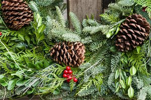Holiday wreath with cones
