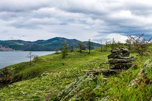 Windstorm over Baikal lake