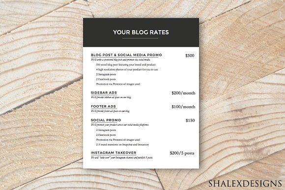 Ad Rate Sheet - Blog Rate Kit ~ Resume Templates ~ Creative Market