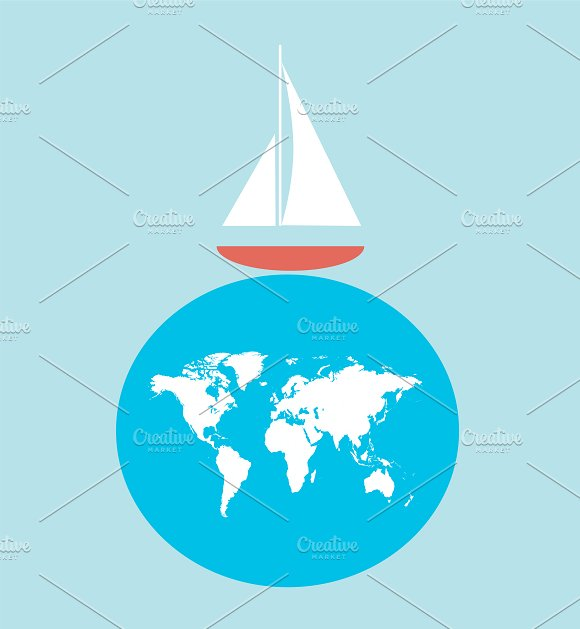 Yacht Logo With World Map 2