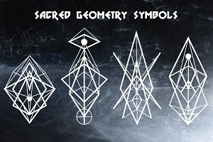 sacred geometry symbols elements illustrations creative market