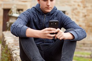 Teenager guy outside