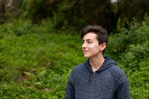 Teenager guy outside
