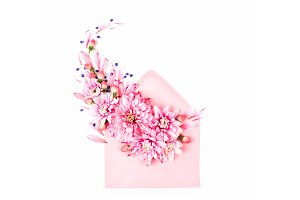 Flower with pink envelope