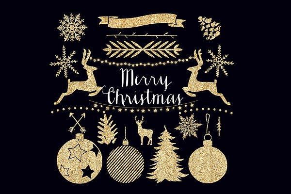 Golden Christmas Clipart