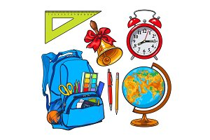 Backpack packed with school items, alarm clock, globe and bell