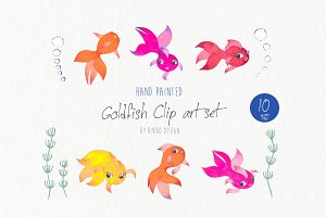 Cute watercolor goldfish clip art