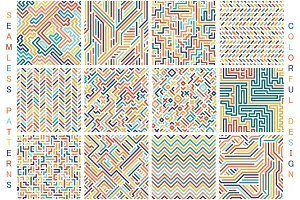 Colorful seamless vector patterns.
