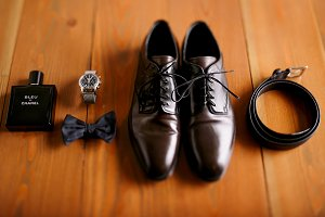 Classy leather shoes, belt, bow tie