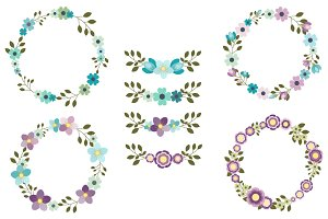 Mint violet flower wreath clip art