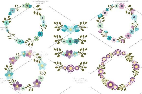 Mint Violet Flower Wreath Clip Art