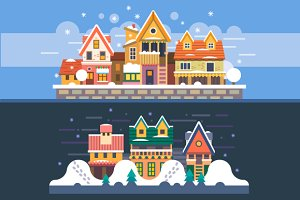 Christmas Time Winter Houses