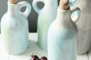 Set of handcrafted ceramic bottles