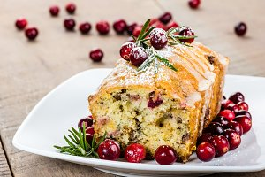 Cranberries and loaf of nut bread