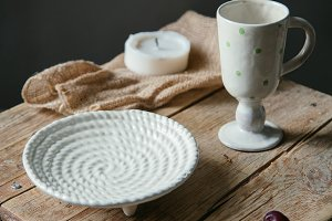 Handmade pottery with rope texture