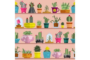 Nature succulent home cactus tropical plant vector illustration seamless pattern