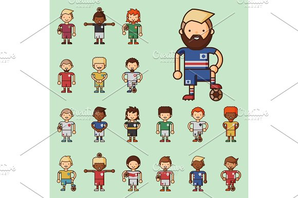 National Euro Cup Soccer Football Teams Vector Illustration And World Game Player Captain Leader In Uniform Sport Men Isolated Characters