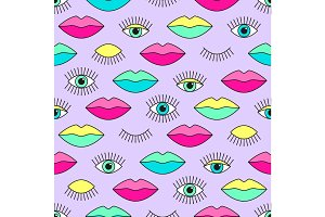 Stylish 80s seamless pattern with eyes and lips