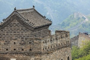 The Great Wall watchtower with traditional tile roof
