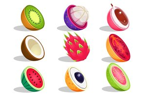Tropical Fruits Sliced In Half Set Of Bright Icons