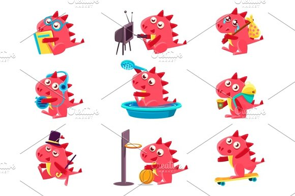 Red Dragon Everyday Activities Set Of Illustrations