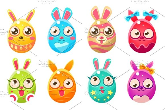 Easter Bunny In Shape Of An Egg In Different Designs