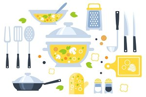 Soup Preparation Set Of Utensils Illustration