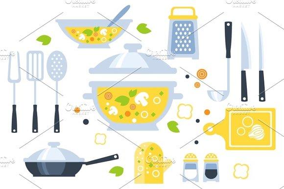 Soup Preparation Set Of Utensils Illustration