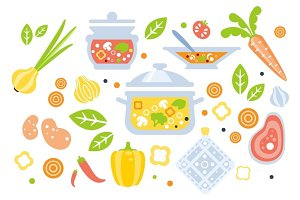 Soup Preparation Set Of Ingredients Illustration