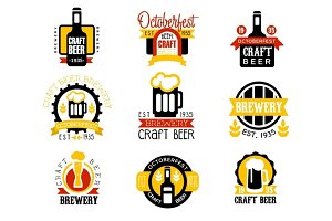 Craft Beer Set Of Logo Design Templates