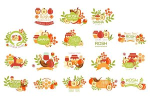 Rosh Hashanah Bright Postcard Labels Set