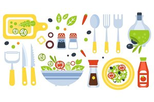 Salad Preparation Set Of Utensils Illustration