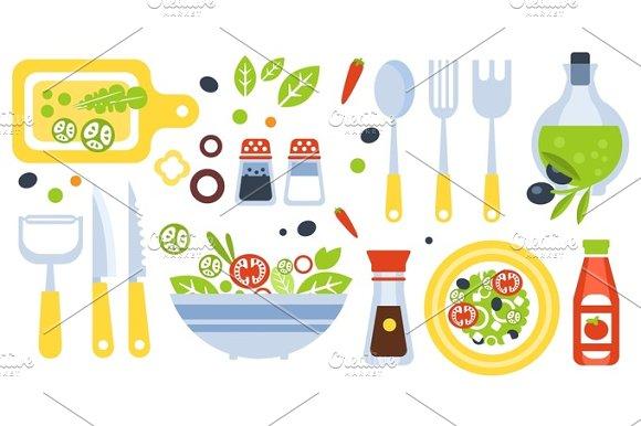 Salad Preparation Set Of Utensils Illustration