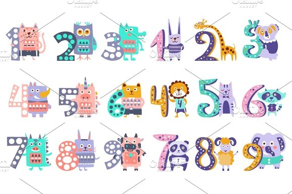 Stylized Funky Animals Standing Next To Digits Sticker Set