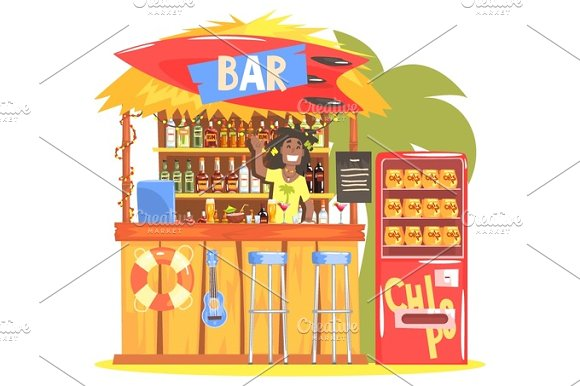 Beach Bar In Tropical Style Design With Smiling Resta Barman