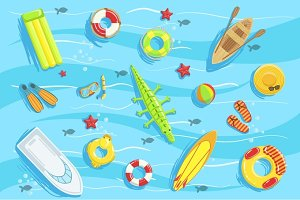 Water Toys And Other Objects From Above Illustration