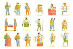 Construction Workers At Work Set