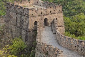 Watchtower of the Great Wall with viewing platform