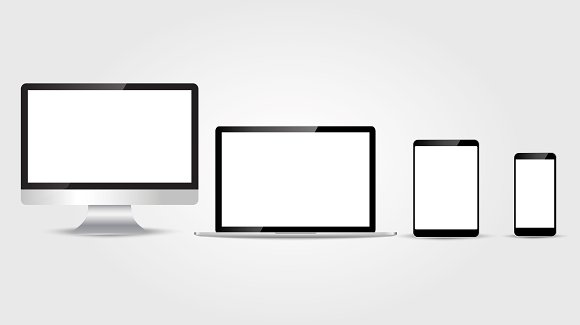 Set of realistic computer monitor