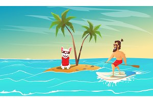 Cheerful surfer and dog are relax