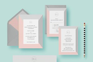 Simple Minimal Wedding Invite Set