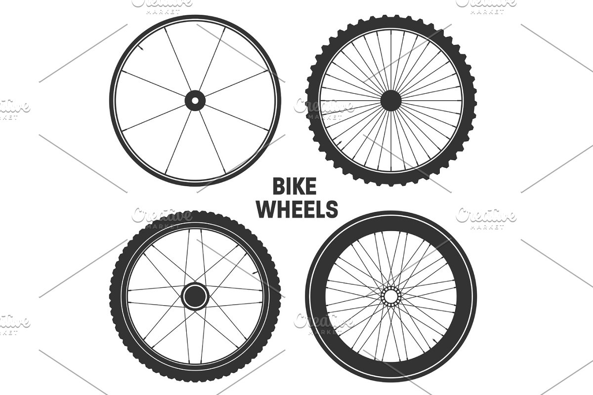 Bicycle wheel symbol,vector. Bike rubber. Mountain tyre. Valve. Fitness cycle.MTB. Mountainbike. in Illustrations - product preview 8